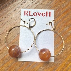 Soft Yellow Gold Hoops with Single Caramel Bead